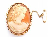 Vintage 9ct Gold Cameo Brooch, Fully Hallmarked.